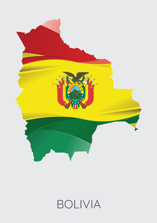 Map Of Bolivia With Flag As Texture Isolated On Grey Background. Vector Illustration