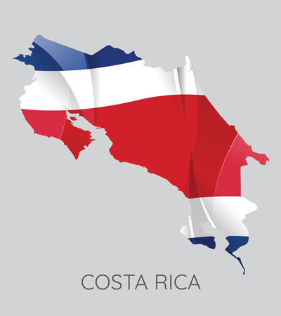 Map Of Costa Rica With Flag As Texture Isolated On Grey Background. Vector Illustration