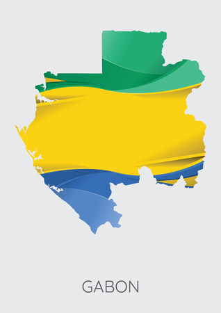 Map Of Gabon With Flag As Texture Isolated On Grey Background. Vector Illustration