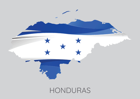 Map Of Honduras With Flag As Texture Isolated On Grey Background. Vector Illustration