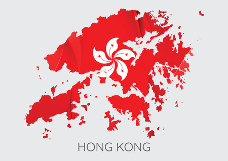 Map Of Hong Kong With Flag As Texture Isolated On Grey Background. Vector Illustration