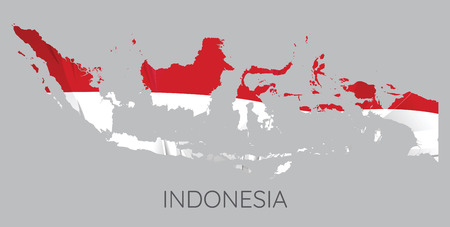 Map Of Indonesia With Flag As Texture Isolated On Grey Background. Vector Illustration Vettoriali