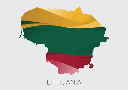 灰色の背景に分離されたテクスチャとしてフラグを持つリトアニアのマップ。ベクトルイラストレーション