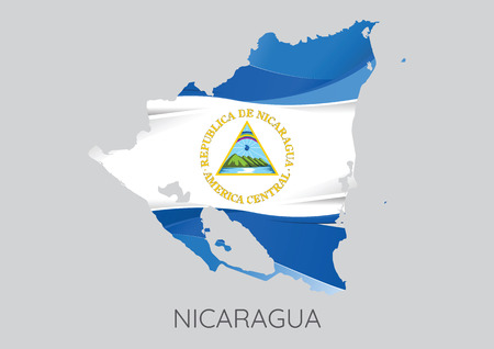 nicaragua: Map Of Nicaragua With Flag As Texture Isolated On Grey Background. Vector Illustration Illustration