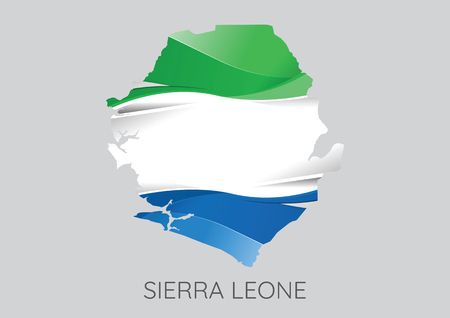 Map Of Sierra Leone With Flag As Texture Isolated On Grey Background. Vector Illustration