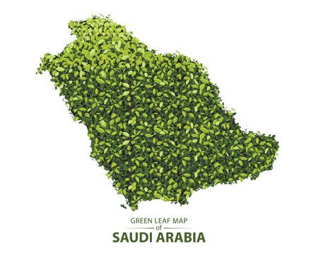 Green leaf map of saudi arabia. Vector illustration