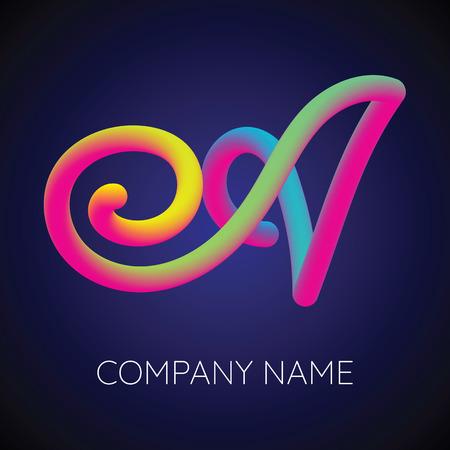 Letter A Logo Concept Design Template with Blending Colors Design