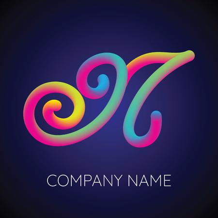 Letter N Logo Concept Design Template with Blending Colors Design Illustration