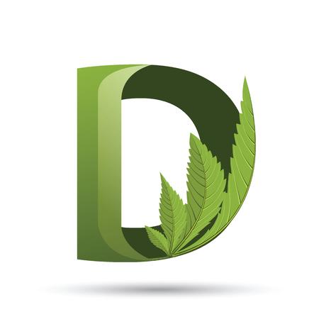letter D. medical marijuana, cannabis green leaf logo. vector illustration.