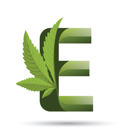 Letter E medical marijuana, cannabis green leaf icon vector illustration.