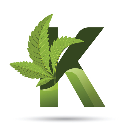 letter K. medical marijuana, cannabis green leaf logo. vector illustration.