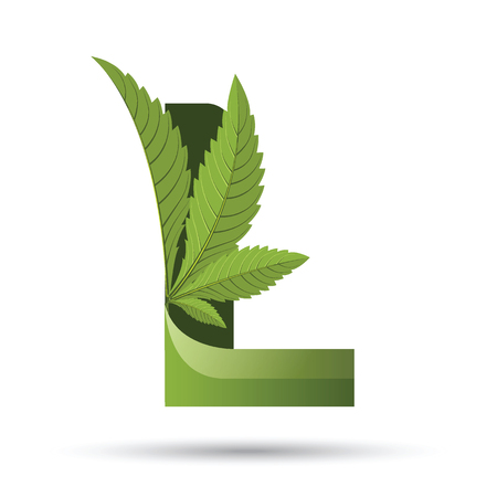 Letter L medical marijuana, cannabis green leaf icon vector illustration.