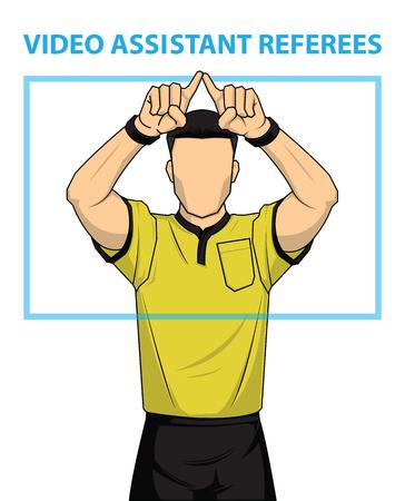 Árbitro de futebol mostra ação de árbitros assistentes de vídeo. Ilustração vetorial