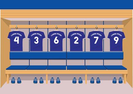 Soccer dressing rooms team. football sport blue shirt vector illustration