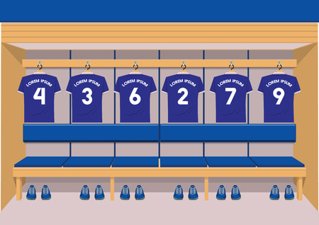 Soccer dressing rooms team. football sport blue shirt vector illustration 版權商用圖片 - 94137675
