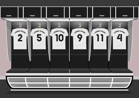 Equipe de vestiários de futebol. ilustração em vetor camisa esporte branco futebol