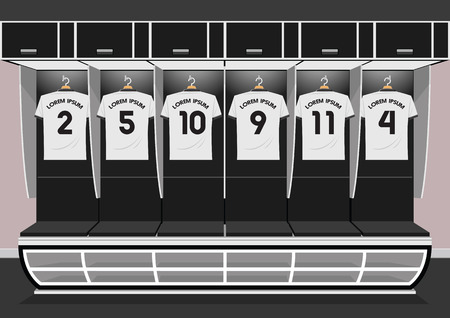 Soccer dressing rooms team. football sport white shirt vector illustration