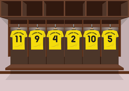 Soccer dressing rooms team. football sport yellow shirt vector illustration