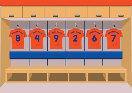 Soccer dressing rooms team. football sport orange shirt vector illustration