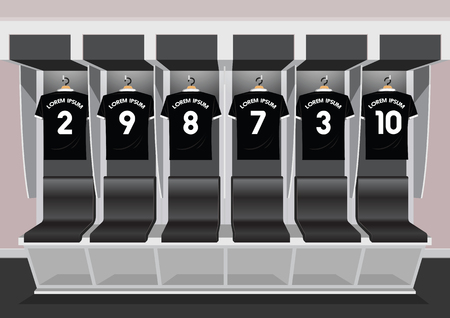 Soccer dressing rooms team. football sport black shirt vector illustration Illustration