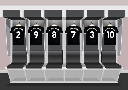Soccer dressing rooms team. football sport black shirt vector illustration Illustration