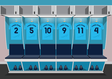 Soccer dressing rooms team. football sport blue shirt vector illustration