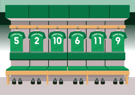 Soccer dressing rooms team. football sport green shirt vector illustration