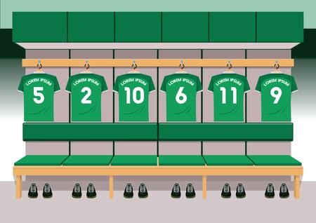 Soccer dressing rooms team. football sport green shirt vector illustration
