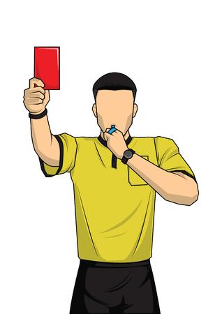 レッドカードを示すサッカーレフリー。ファウルを示すフットボールの試合のレフリー。スポーツキャラクターを持つベクトルイラスト。  イラスト・ベクター素材