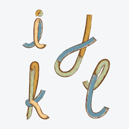 Vector of vintage stylized painted color wooden font and alphabet.