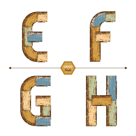 Vector graphic alphabet in a set E, F, G, H, with color wood vintage style