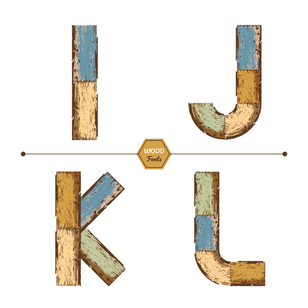 Vector graphic alphabet in a set I, J, K, L, with color wood vintage style