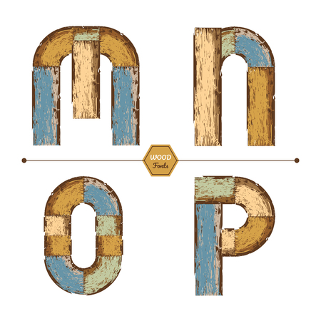 Vector graphic alphabet in a set M, N, O, P, with color wood vintage style