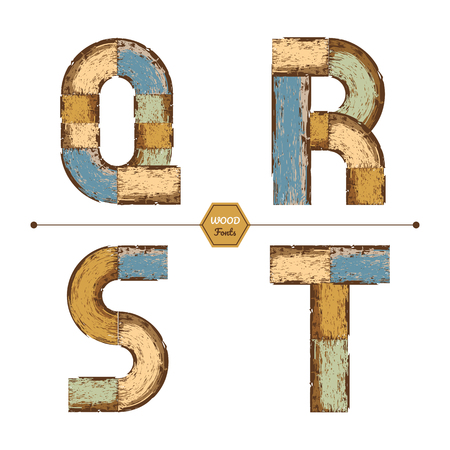 Vector graphic alphabet in a set Q, R, S, T, with color wood vintage style Illustration