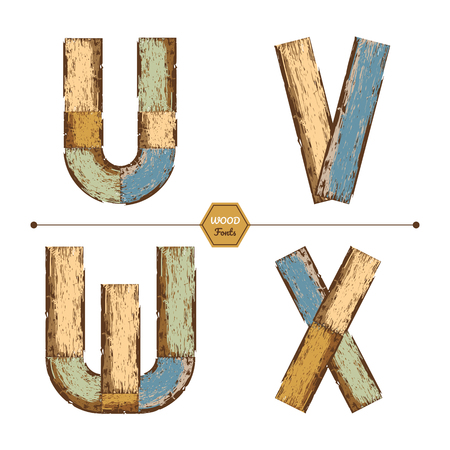 Vector graphic alphabet in a set U, V, W, X, with color wood vintage style