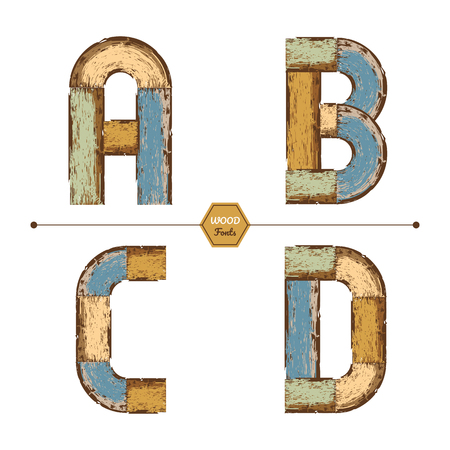 Vector graphic alphabet in a set A,B.C,D, with color wood vintage style
