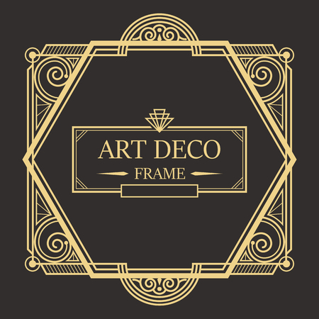 Art deco border and frame style. Creative template geometric frame for your design. Vector illustration. EPS 10