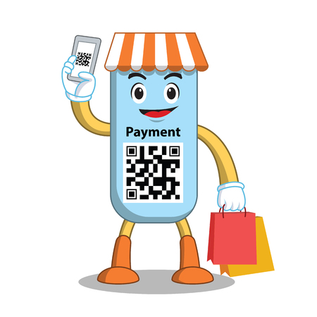 Mascot qr code payment. Flat internet store. Online market. Smartphone with QR code. Scan and pay. Vector illustration