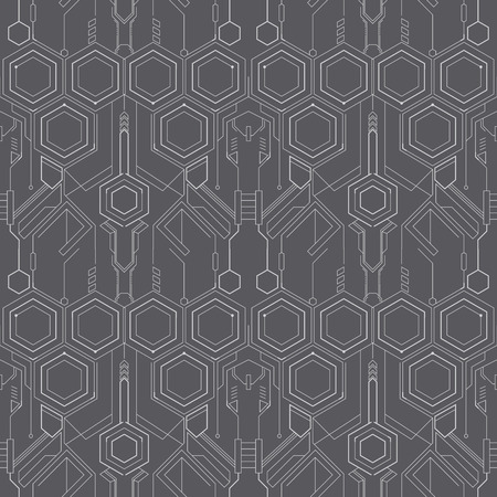 Abstract technological background. Structure square seamless pattern with lines backdrop.  Vector illustration. Ilustrace