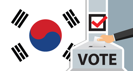 Hand putting paper in the ballot box. South Korea flag on background. vector illustration.  イラスト・ベクター素材