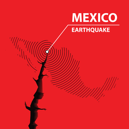 Mexico earthquake concept on cracked map. vector illustration.