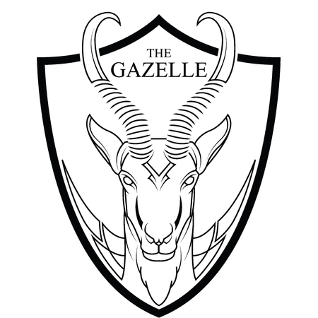 Animal of Africa gazelle head vector. abstract logo. coloring page. black line drawn.