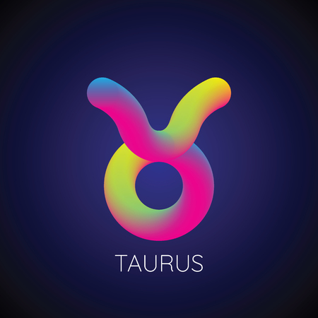 Colorful blending Taurus zodiac sign. Modern abstract 3D render design element. vector illustration.