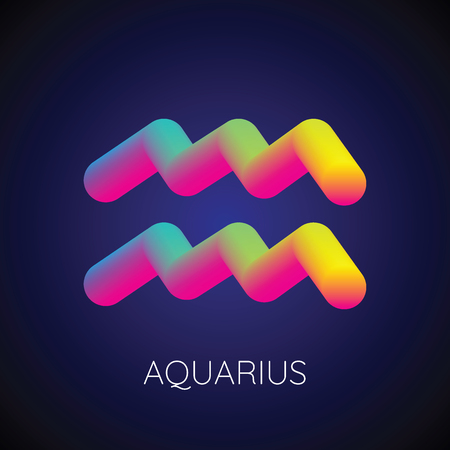 Colorful blending aquarius zodiac sign. Modern abstract 3D render design element. vector illustration.