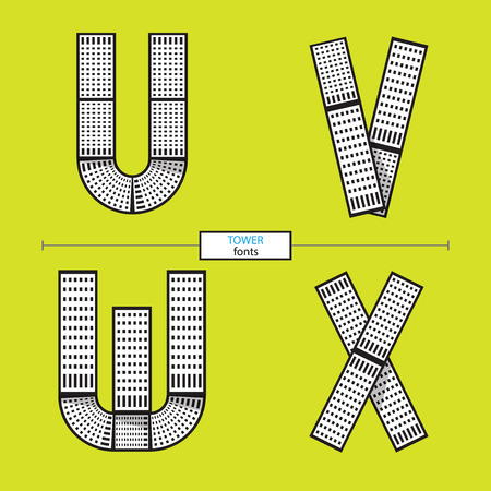 Vector graphic alphabet in a set U,V,W,X, with tower line design style