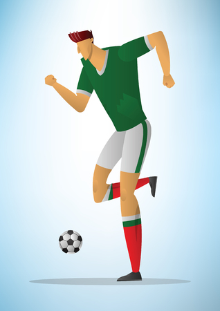 Illustration of football player action kicking the ball.