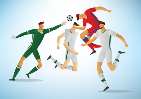 Football players in action. soccer goalkeeper vector illustration.