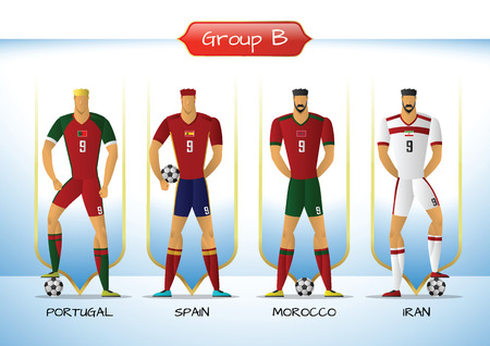 Soccer or football team 2018 uniform a group B. players with team shirts flags. vector illustration.