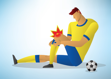 football player injured on the knee. vector illustration.