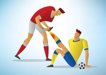 Dos hombres jugador de fútbol de primeros auxilios de la lesión inicial. Ilustración de vector de calambres de fútbol